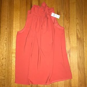 Coral Rouched Sleeveless Shell - Ann Taylor